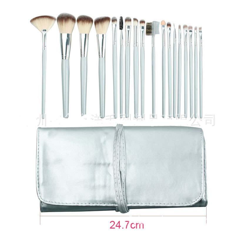 ISMINE 18 Pcs Make up Brush Set Professional Blush Blending Brush Silver Nylon Hair Cosmetic Travel Makeup Brushes Set with Bag make up factory blush brush