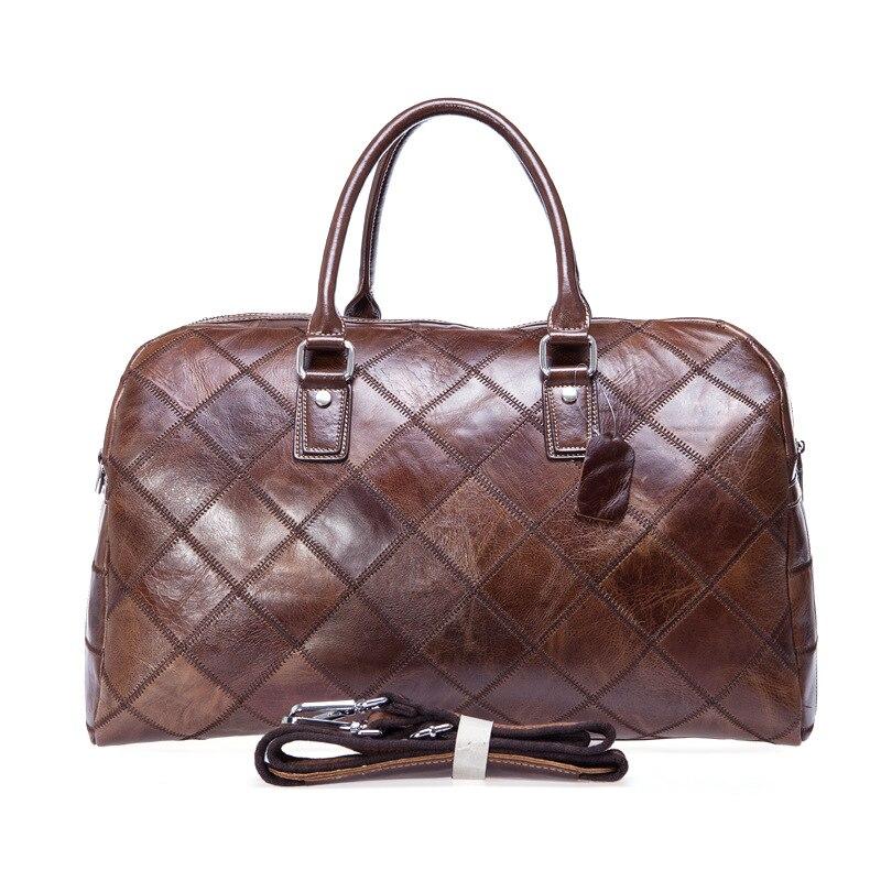 Фотография Brand European Style First Layer Genuine Leather Large Travel Bag Duffle Unisex Handbag Shoulder Bag Messenger Bags Men&Women