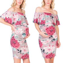 Exquisite summer fall hot sale Women's Maternity dresses Ruffle Off-Shoulder Floral Print sleeveless polyester Pregnancy Dresses