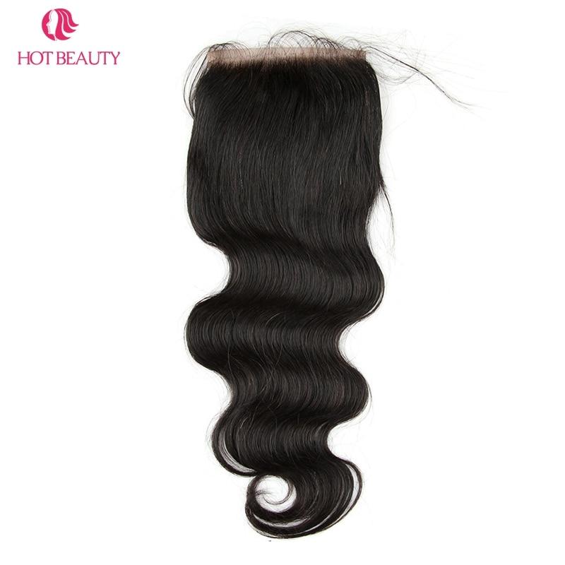 핫 뷰티 헤어 클로저 브라질 바디 웨이브 클로저 - 인간의 머리카락 (검은 색) - 사진 3
