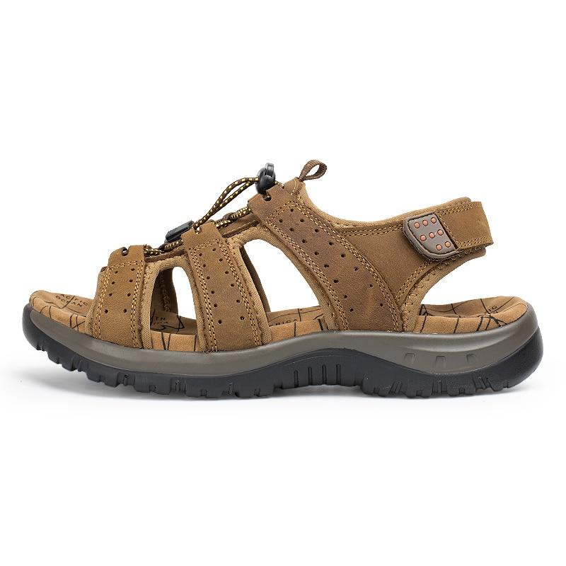 D'été 38 Dark Hommes Qualité Sandalias En Brown Mode kaki Taille light Grande Véritable Chaussures Maille 45 Sandales Casual Brown Plage Cuir Pêcheur Souple roxeBCd