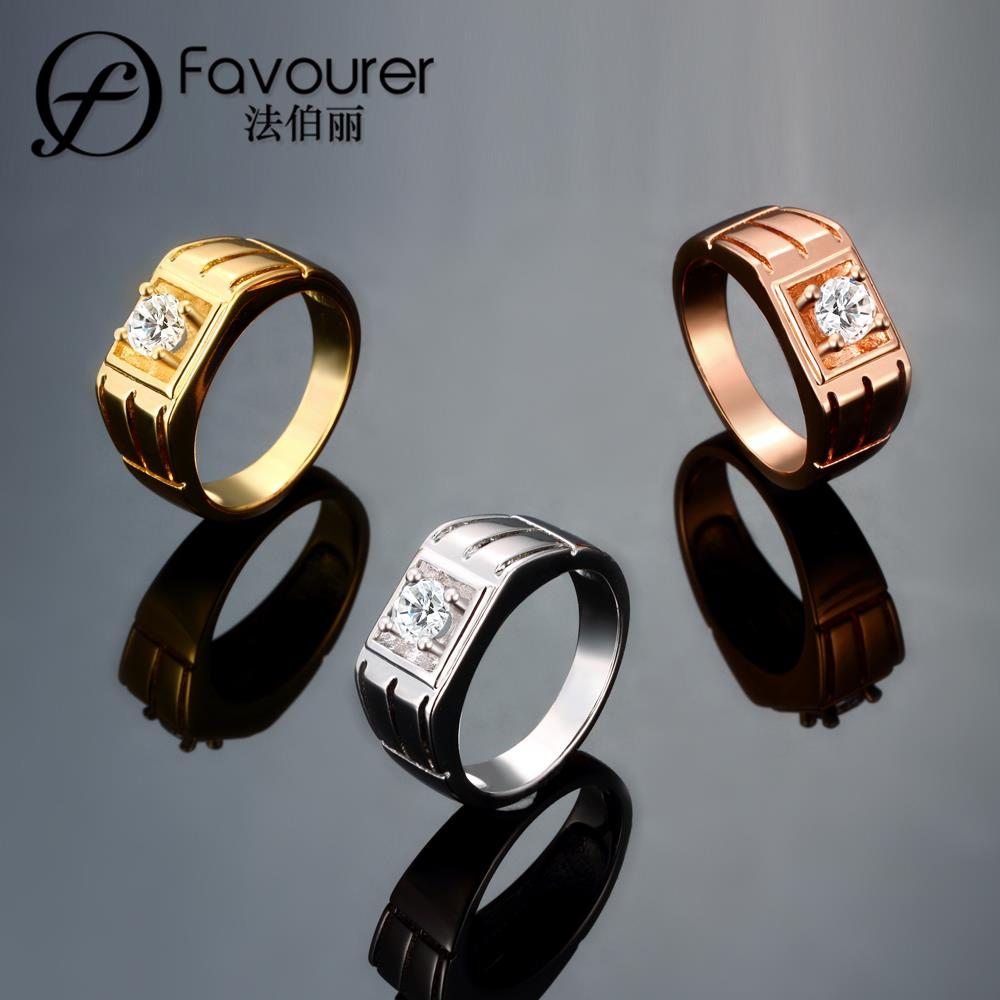 2016 Best Gift Rose gold color Men Jewelry Rings Round Party Jewelry Cubic Zirconia Man Rings R136-B-8