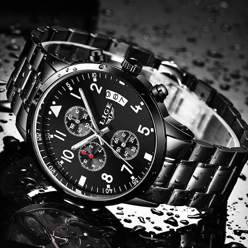 New Fad Men's Watches Brand LIGE Top Brand Luxury Fashion Business Quartz Watch Men Sport Full Steel Waterproof Men Wristwatch fashion luxury brand lige steel