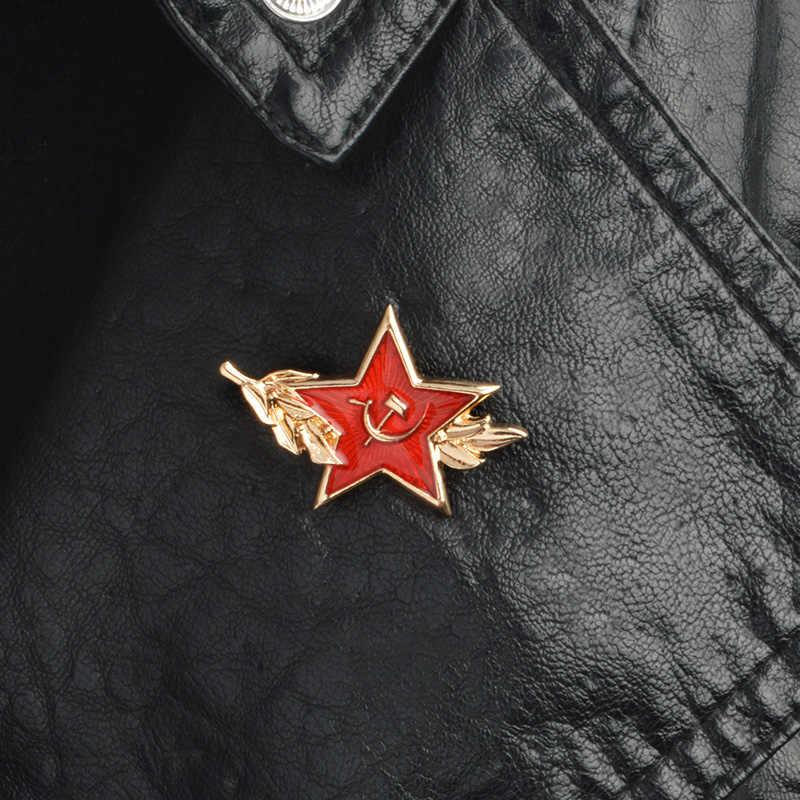 Uni Soviet Simbol Enamel Pin Perang Dingin Soviet Pro Kitty Red Star Sabit Hammer Bros Hadiah Ikon Lencana Tombol Kerah Pin untuk mantel Hadiah