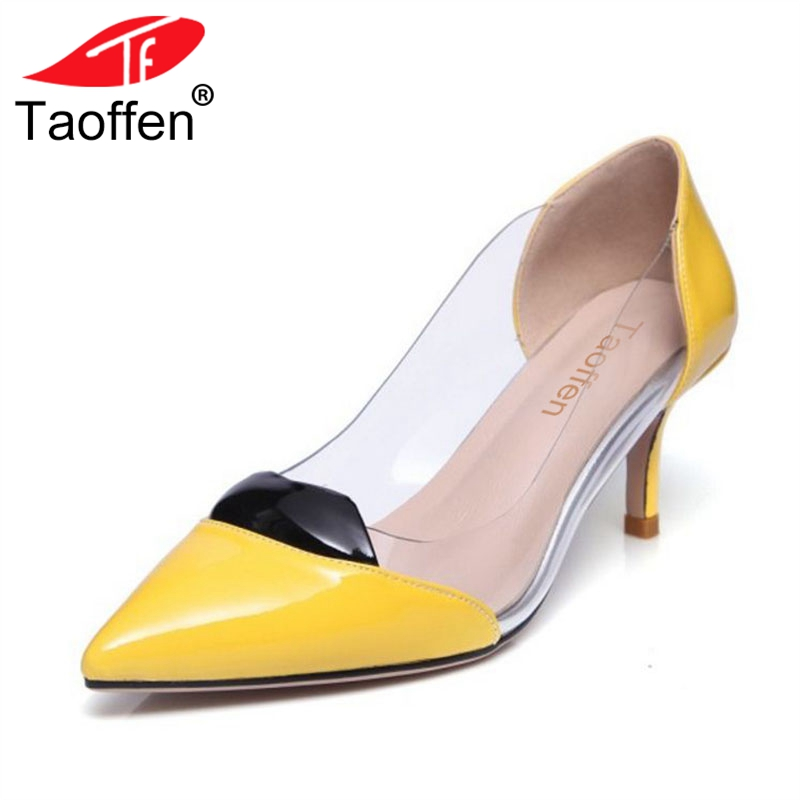 TAOFFEN Women High Heel Pumps Thin Heel Pointed Toe Mixed Color Real Leather Women Shoes Ornate For Wedding Footwear Size 33-40 new arrival multi ab color wedding shoes women s pumps luxury crystal shoes pointed toe square heel sheepskin real leather shoes