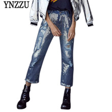 YNZZU Plus Size Sequins Jeans Women 2018 New Spring Chic Straight Denim European Casual Ripped Hole Streetwear YB174