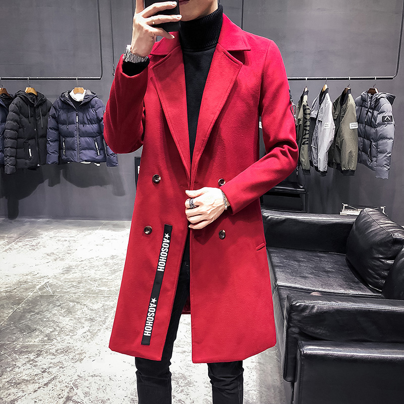 Mens   Trench   Coats Long Red Veste Longue Homme British Woolen Jackets Mens Long Vintage Double Collar Long Coats Mens Slim Fit