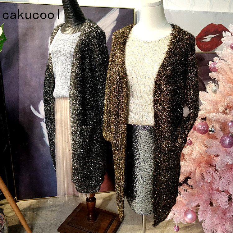 Cakucool Hot Women Gold Lurex Long Knit Coats Autumn Thicken Bling Open Stitch Korea Loose Embellish Cardigans Sweaters Female-in Cardigans from Women's Clothing    1