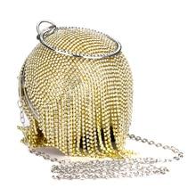 Gold Diamonds Rhinestone Round Ball Evening Bags For Women 2019 Fashion Mini Tassels Clutch Bag Ladies Ring Handbag Clutches
