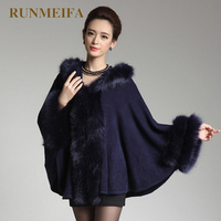 RUMNEIFA Women Fashion Faux Fur Cape Poncho Shawl With Fur Collar Solid Batwing Sleeve Warm Winter cardigan