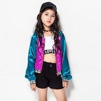 Nuove Ragazze Jazz Coreano Colore Misto Cappotto Dj Giacca Bambini Danza Jazz Costume Hip-Hop Vestiti di Prestazione Dei Capretti Vestito Fase