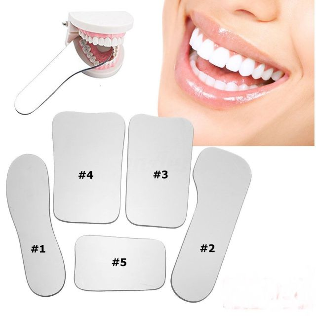 5 pcs Dental Clinic Glass Photographic Mirror Reflector 2side Specular Rhodium
