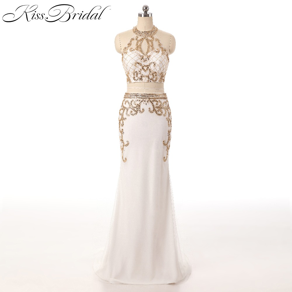New Arrival Sexy Two Pieces Party   Evening     Dresses   Vestido de Festa Illusion Sleeveless Mermaid Beading Prom Gowns