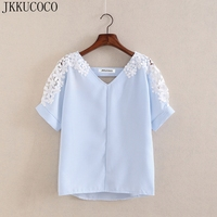 JKKUCOCO Summer Women Lace Blouses Fashion Woman Lace Shirt Cotton Lace Flowers Casual Short Sleeve Women