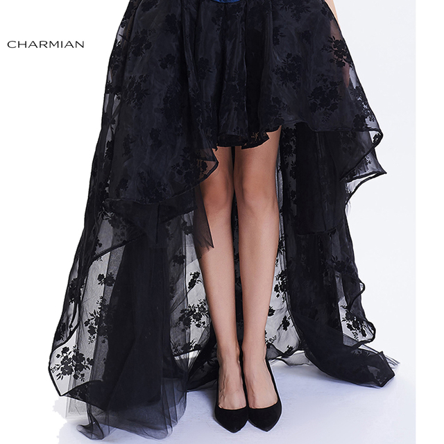 883ade86350 Charmian Women s Steampunk Gothic Vintage Skirt Floor Length Sexy Wedding  Party High Low Black Floral Lace