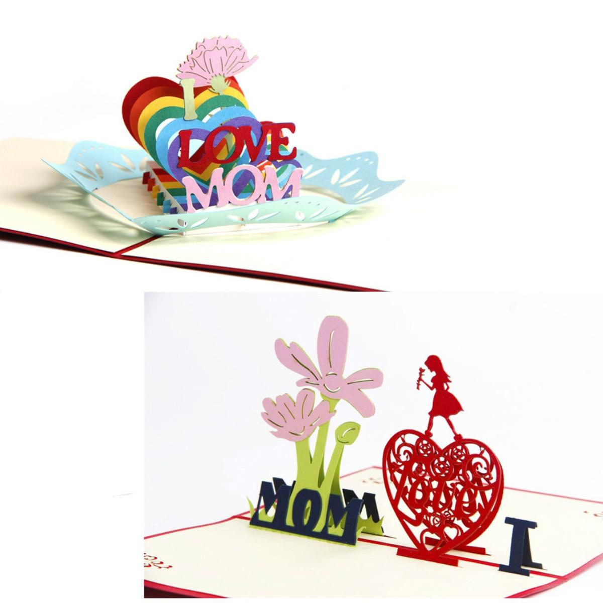 3D I Love Mom Pop Up Christmas Cards Handmade Greeting