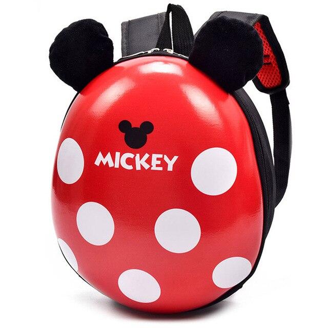 Disney Mickey Minnie Mouse Casca de ovo Mochilas De Pelúcia bonito brinquedos Animais Forra meninos Mochila Escolar caçoa o presente