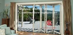 Алюминиевый сплав ураган удар Би-створчатая дверь дизайн, складные двери с внутренними затворами и жалюзи, Наружная Стеклянная створчатая