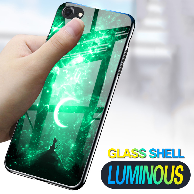 <font><b>Luminous</b></font> Phone <font><b>Case</b></font> For <font><b>iPhone</b></font> 7 8 <font><b>6</b></font> 6s Plus X 10 Creative Space Night Shine Glass <font><b>Case</b></font> For <font><b>iPhone</b></font> 11 XS XR MAX Back Cover Shell image