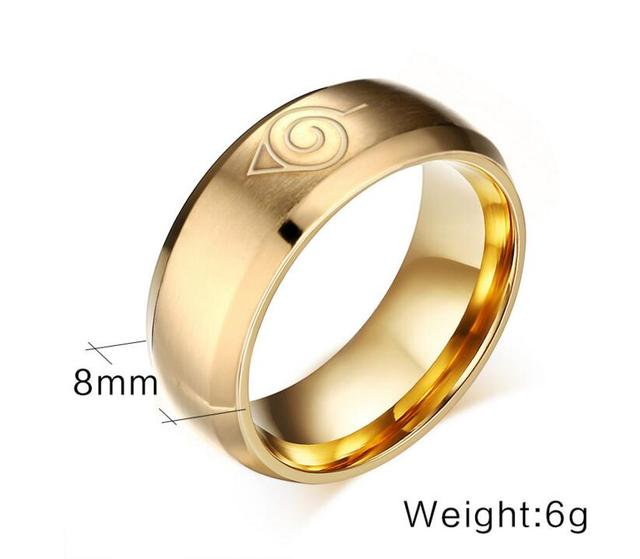 2016 New Fashion Naruto Ring Gold Cool Men Jewelry Stainless Steel Anime Mens Man Accessories