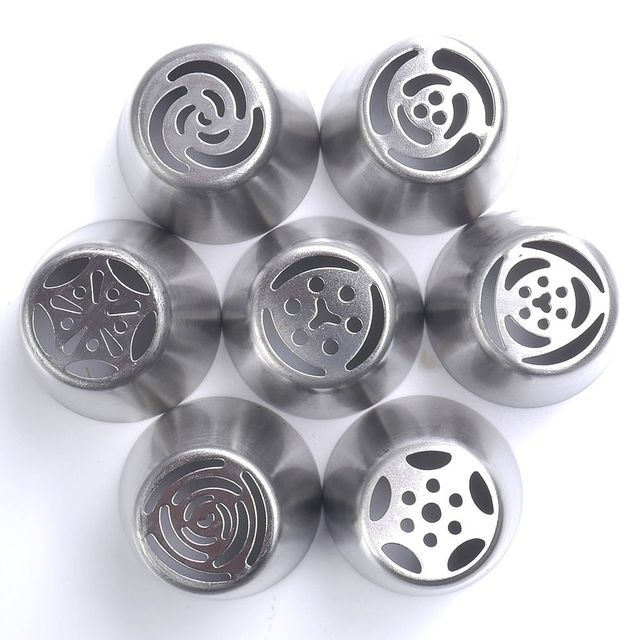 7PCS Stainless Steel Russian Tulip Icing Piping Cake Nozzles Pastry Decoration Tips Cake Decorating Fondant Baking Accessories