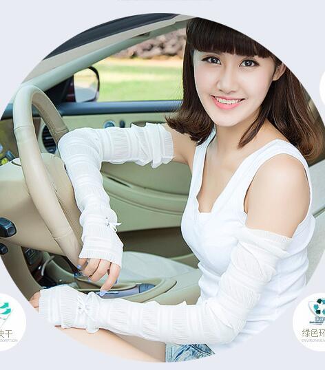 New Ultra-thin Sunscreen Gloves Female Summer Long Design Ice Silk Half-finger Anti UV Car Ride Cuff Fake Sleeves