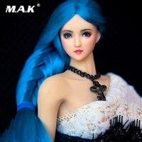 На заказ 1/6 масштаб женская голова резная OB27 девушка бледная кожа синяя коса волосы голова лепим для 12 ''фигурка тела аксессуар