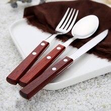 Teak Log Silver Tableware Set 304 Stainless Steel Cutlery Set  Silver Knife Western Food Dinner Home Restaurant Cutleries 3pcs