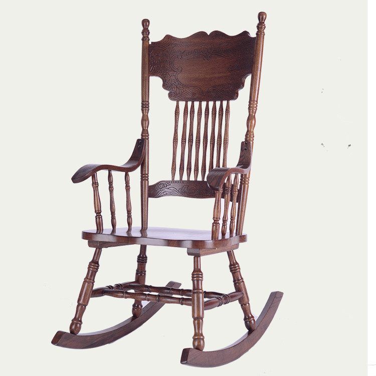 Ameircan rocking chair carved oak wood wood living for Wooden chairs for living room