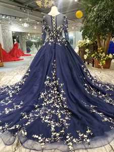 Image 2 - LSS382 navy blue evening dresses long o neck long sleeves ladies party dresses elegant women occasion dress 2020 free shipping