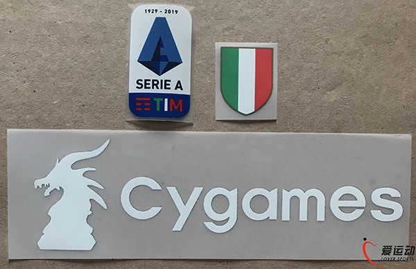 2019-20 Juven Serie A patch set nieuwe Siliconen Serie A patch + Scudetto patch + wit Cygames sponsor