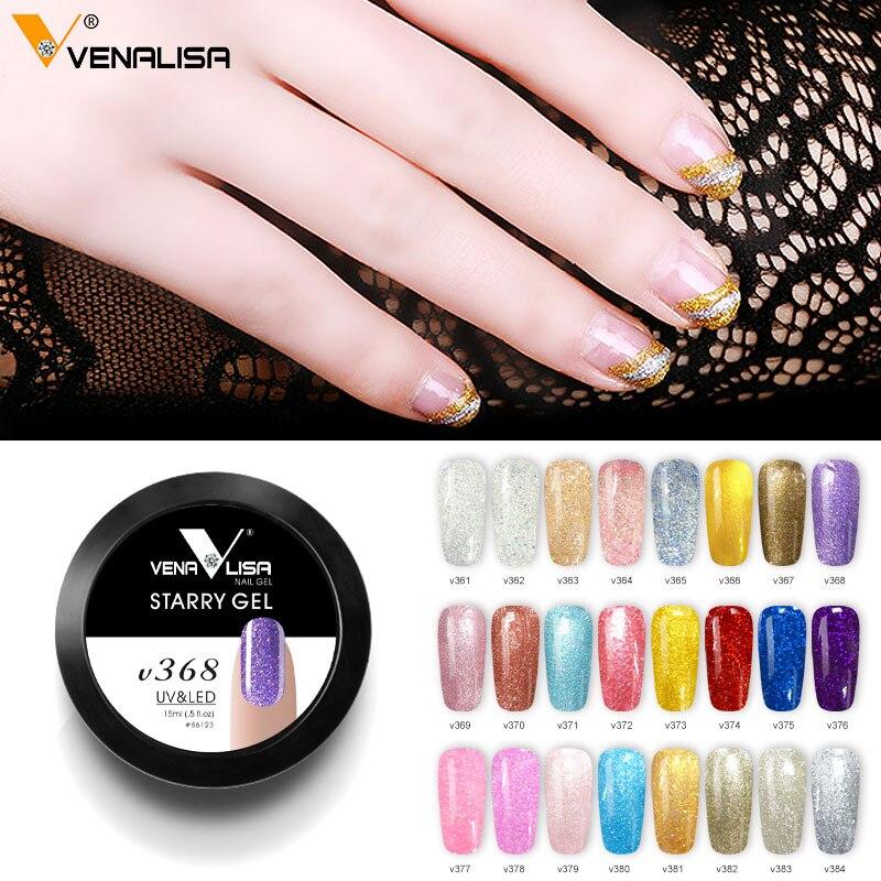 24 pcs/ensemble 15 ml Étoilé Gel Vernis Professionnel Nail Art Manucure Soak Off UV LED Bling Couleur Gel Nail Art conception Dessin Gel