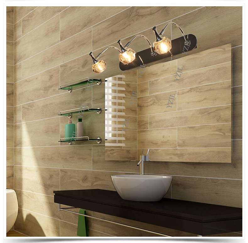 European Crystal Mirror Lights LED Cabinet Mirror Front