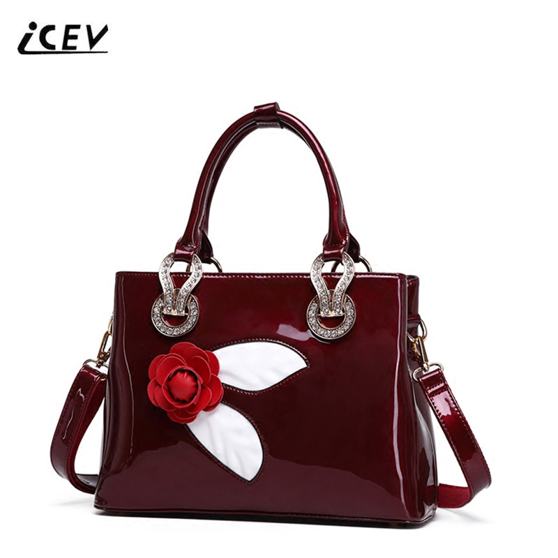 ICEV New Casual European Fashion Luxury Handbags Women Bag Designer High Quality Patent Leather Totes Women Leather Handbags Sac icev new brands simple classic female cow leather designer handbags high quality genuine leather handbags women leather handbags