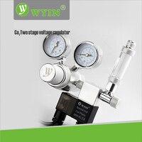 110V 220V Dual Gauge Dispaly Aquarium Co2 Regulator Bubble Counter Magnetic Solenoid Check Valve W21 8