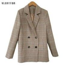 2018 spring new Medium long vintage plaid women plus size casual fashion blazer feminino