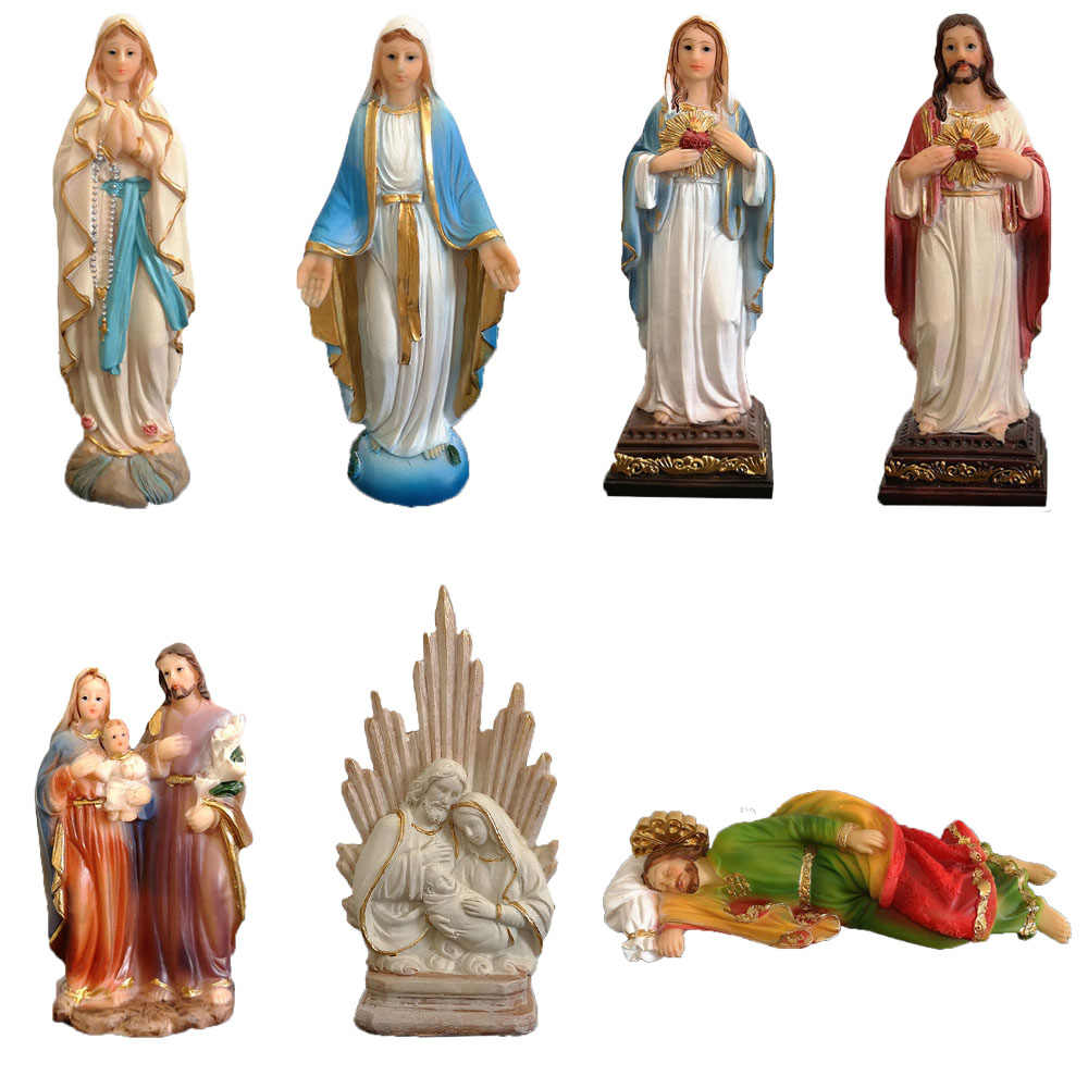 Keagamaan Figurine Resin Keluarga Kudus Patung Yesus Sacred Heart Patung Virgin Mary Patung our Lady Of Lourdes