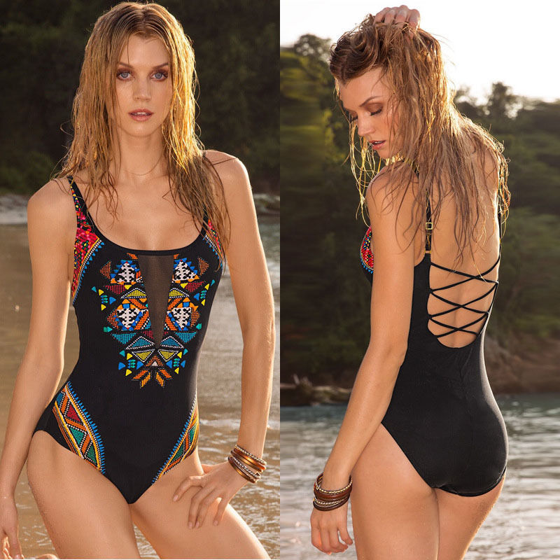 One Pieces print SwimSuits Plus Size Swimwear Bathing Suit Swimsuit Monokini Women Push Up Backless Padded Floral One-Piece