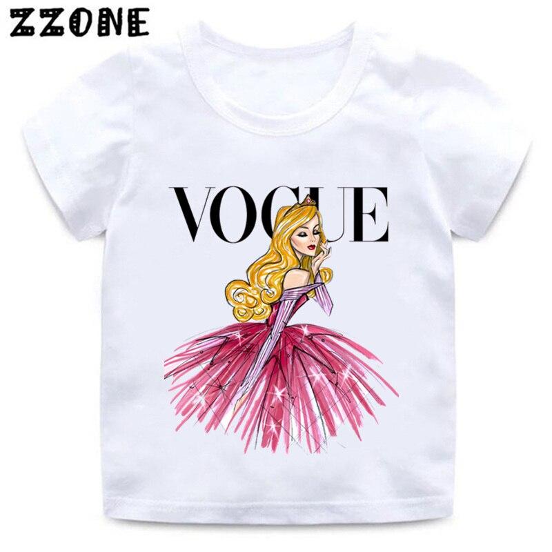 VOGUE Princess Print Girls T Shirt Cartoon Funny Casual Kids Clothes Summer Harajuku White Baby T-shirt,ooo5209