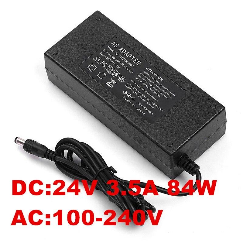 1 pcs 84 w 3.5A 24 v Adaptador Ac Adaptador de Energia v 3.5A 24 24 v EUA REINO UNIDO DA UE AU plugue de linha de CA 1.2 m + DC linha 1.2 m 5.5*2.5mm