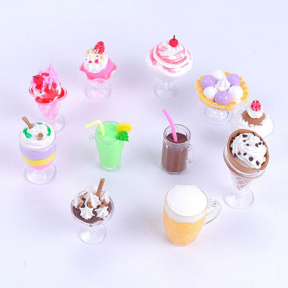 15pcs//Set Mini Transparent Drink Cups Dish Plate Tableware Miniatures H ER