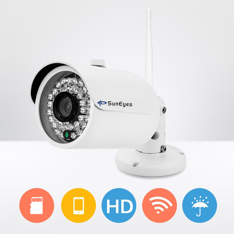 купить SunEyes SP-V701W-16 Outdoor Wireless IP Camera 720P HD with 16G Class10 Micro SD Built-in IR Night Vision Free P2P for Phone недорого