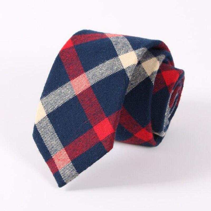 RBOCOTT 6.5 cm Cotton Tie Blue Fashion Plaid Tie Green Striped Necktie Casual Slim Tie Red Skinny Neck Tie