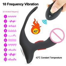10 Frequency Vibrating Prostate Massager Anal Plug With Ring Remote Control Heated Anal Vibrator Silicone Sex Toys for Men