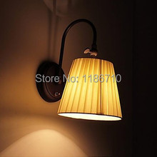 Contracted style Iron Wall Lamp with Fabric Shade in 1 Light wall light Free shipping