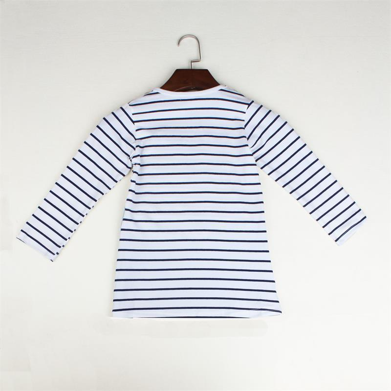 TANGUOANT Striped Patchwork Character Girl Dresses Long Sleeve Cute Mouse Children Clothing Kids Girls Dress Denim Kids Clothes
