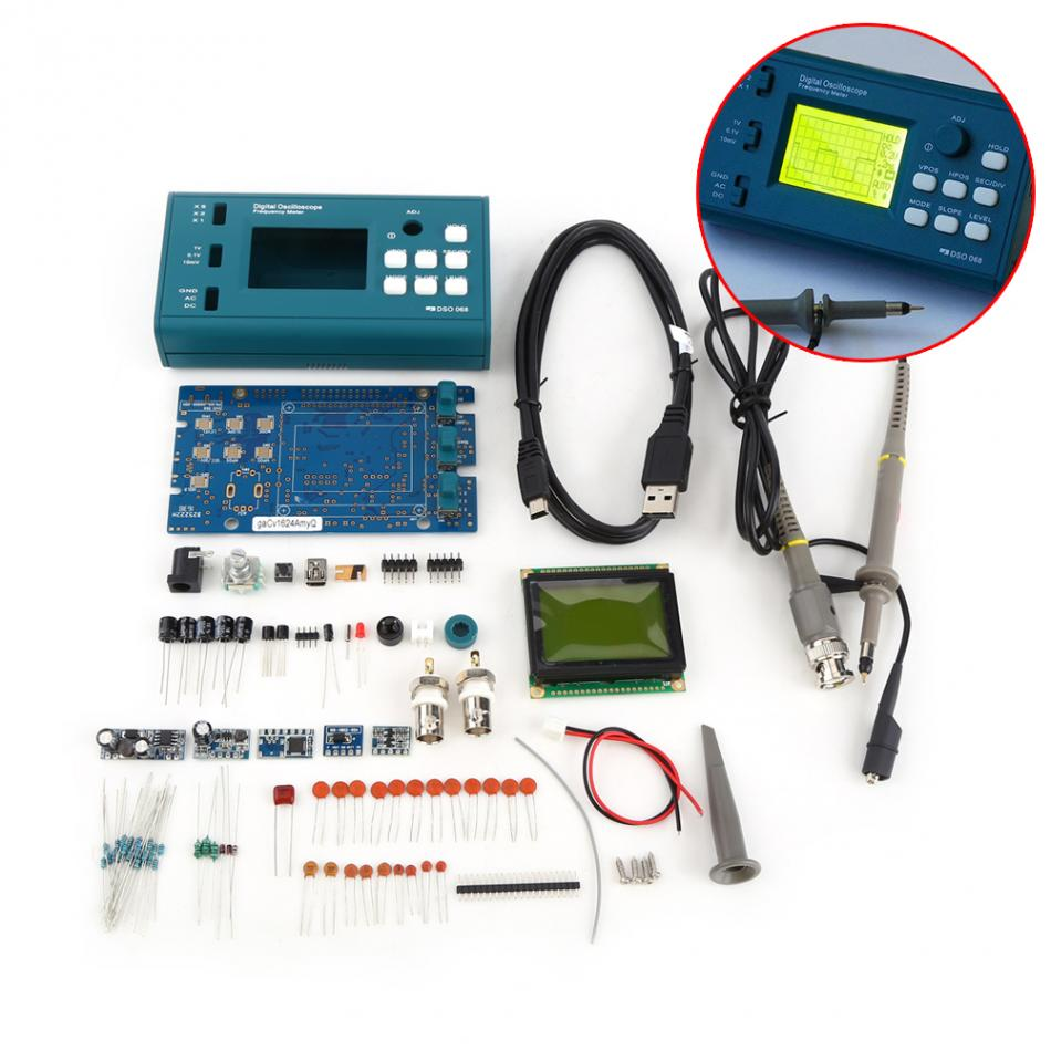 1 Set Oscilloscope Digital Storage Oscilloscope DIY Kit Disassembled Parts with LCD 20MHz Probe Teaching Set  цены