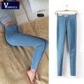 Jeans Mujeres de la manera 2016 Nueva Primavera Otoño Impresión Pintada Arrancó Lavados Vaqueros Delgados Vintage Mujer Elástica Pantalones de Mezclilla Pantalones