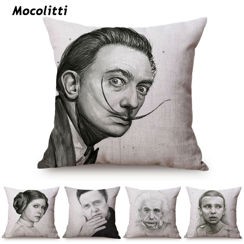 Hollywood Movie Character Portrait Home Decorative Pillow Case Black And White Sketch Art Princess Leia Yoda Sofa Cushion Cover