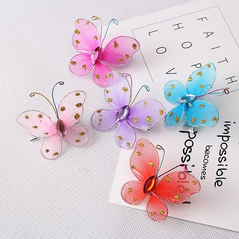 M MISM 5pcs/lot New Arrival Fashion Style Children Hair Accessories Girls Sweet Glitter Butterfly Hairpins Kids Baby Hair Clip m mism new arrival korean style girls hair elastics big bow dot flora ponytail rubber hair rope hair accessories scrunchy women